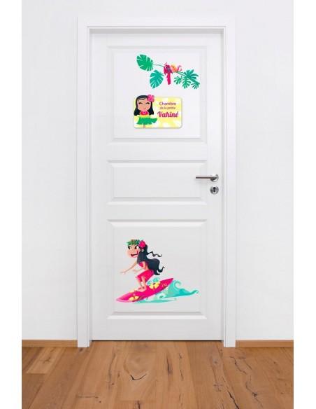 Thèmes chambre Fille,Sticker de Porte Enfant Fille: Vahiné
