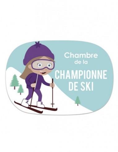 Thèmes chambre Fille,Sticker de Porte Enfant Fille: Skieuse