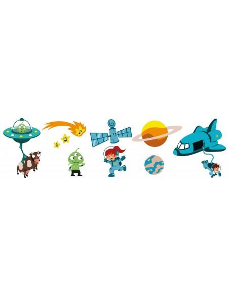 Stickers Espace,sticker garçon: Frise planète