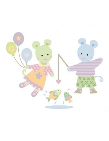 Stickers Nounours Doudous,sticker bébé: Doudou pêche