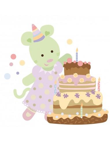 Stickers Nounours Doudous,Sticker bébé: Doudou gâteau