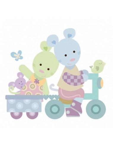 Stickers Nounours Doudous,sticker bébé: Doudou petit Vélo