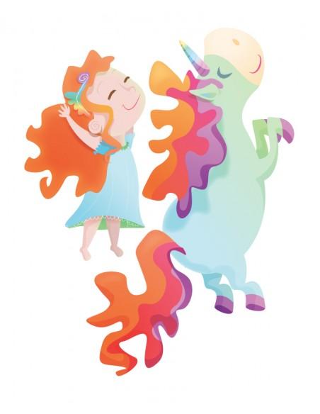 Stickers Féerie & Princesse,Stickers Enfant: Fille rousse