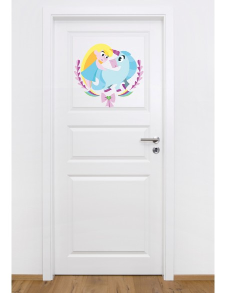 Stickers Féerie & Princesse,Stickers Enfant: Fille licorne coeur