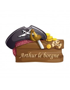 Stickers Prénom,Sticker pirate enfant prénom personnalisable: