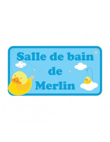 Stickers Prénom,Sticker personnalisable : Canard bleu