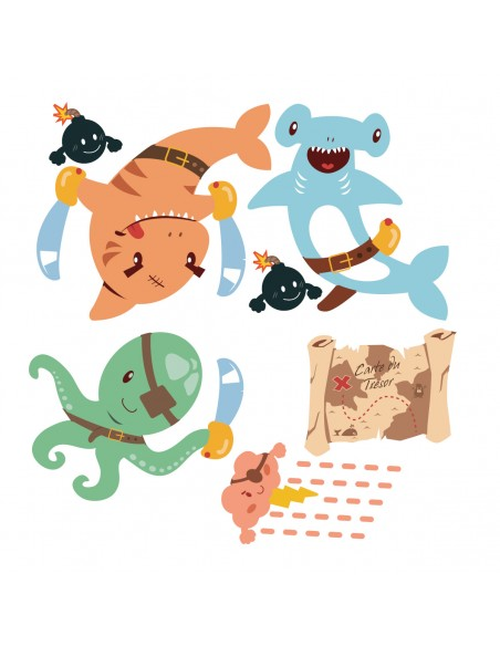Stickers Pirates,Stickers frise Poissons pirates