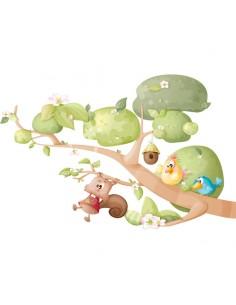 Tous nos produits,Sticker Enfant Oiseau Ecureuil: Pioupiou et