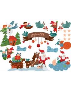 Stickers Noël,Planche Stickers Scène de Noël