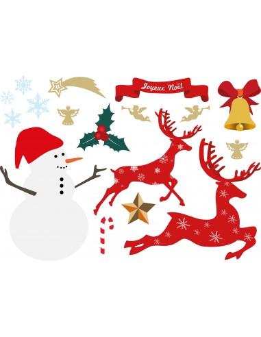Stickers Noël,Sticker Noël: Planche Bonhomme neige