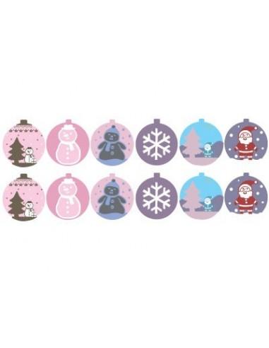 "Stickers Noël,Stickers: Frise Boules de Noel ""rose"" (x12)"