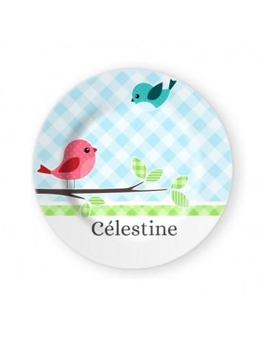 Vaisselle personnalisée,Assiette enfant prénom: Oiseaux
