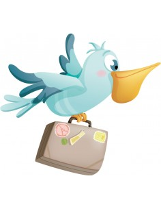 Stickers Animaux,Sticker Enfant Oiseau: Pélican Voyageur