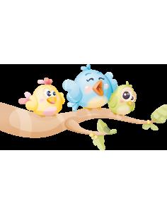 Stickers Animaux,Sticker Enfant Oiseau: Trois Pioupious sur une
