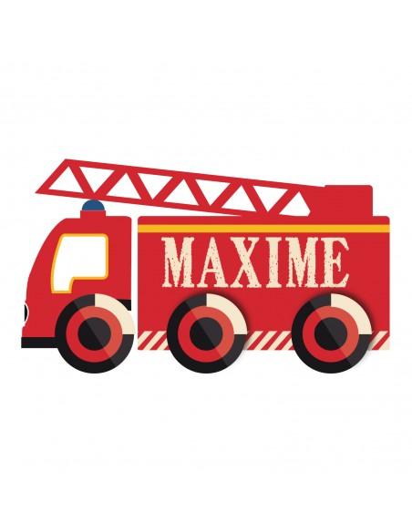 Stickers Pompier,Sticker Prénom à personnaliser: camion de