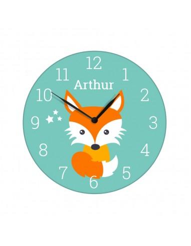 Horloge enfant prénom personnalisable renard