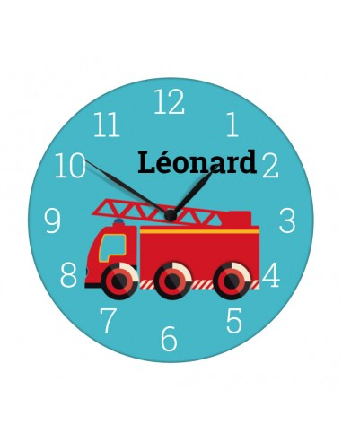 Horloges,Horloge enfant prénom: camion pompier