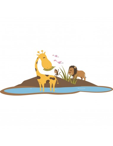 Stickers Jungle & Savane,Stickers Savane: île de la girafe