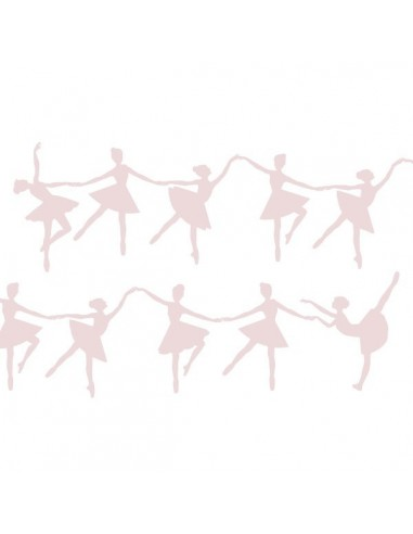 Stickers Danseuse,Stickers muraux: frise silhouettes roses