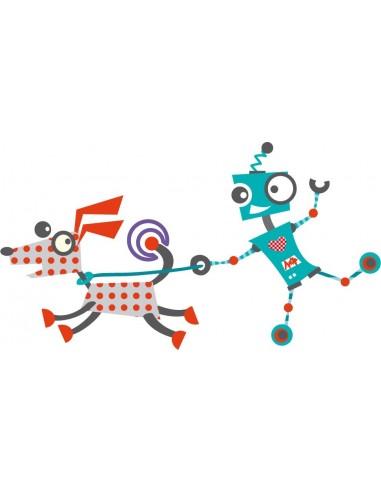 Stickers Robot,Sticker enfant: Robot et son chien
