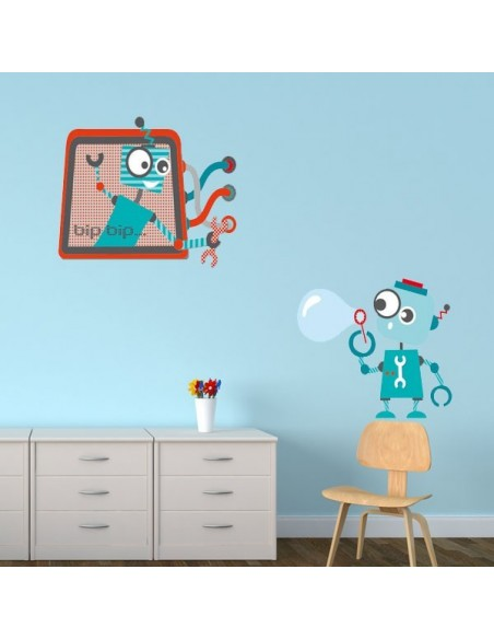 Stickers Robot,Sticker enfant: Robot bulle
