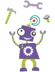 Stickers Robot,Sticker enfant: Robot Violet outils