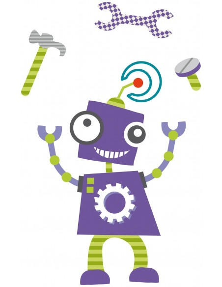 Stickers Robot,Sticker enfant: Robot Violet outils