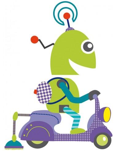 Stickers Robot,Sticker enfant: Robot Scooter