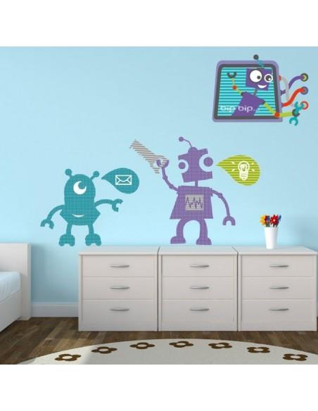 Stickers Robot,Sticker Tableau Robot bleu
