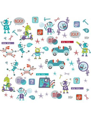 Stickers Robot,Grande planche de 50 stickers Robots