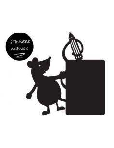 Sticker Ardoise,Sticker deco ardoise: Souris Crayon