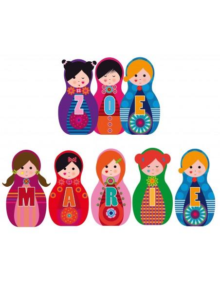 Stickers Prénom,Sticker Prénom personnaliser: Poupée version 2