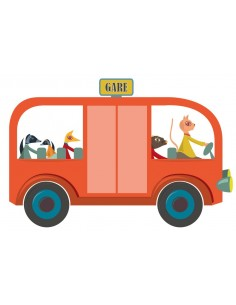Stickers Voiture & Transports,Sticker enfant: Bus rouge