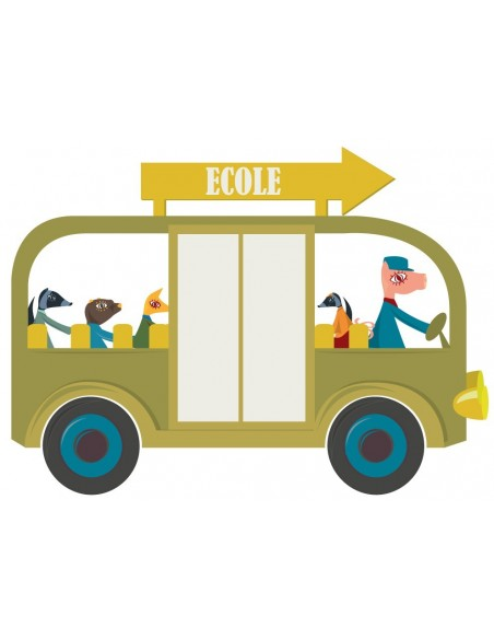 Stickers Voiture & Transports,Sticker enfant: Bus école vert