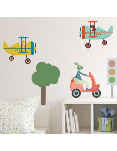 Stickers Voiture & Transports,Sticker enfant: Avion Bleu Speeder