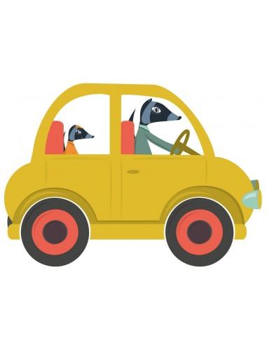 Stickers Voiture & Transports,Sticker enfant: voiture jaune