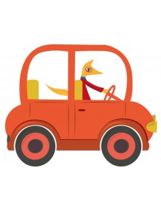 Stickers Voiture & Transports,Sticker enfant: voiture orange
