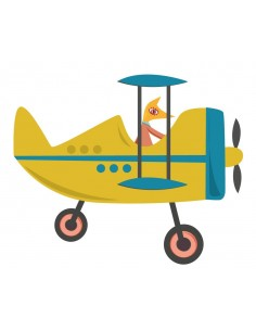Stickers Voiture & Transports,Sticker enfant: Avion jaune