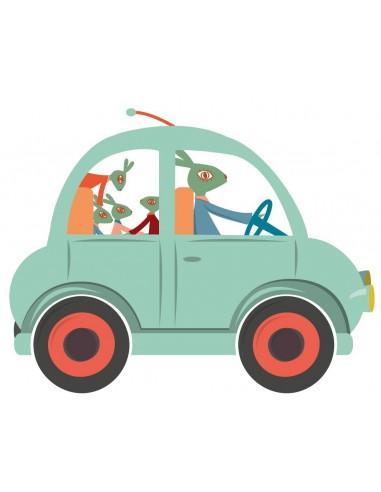 Stickers Voiture & Transports,Sticker enfant: Voiture bleu