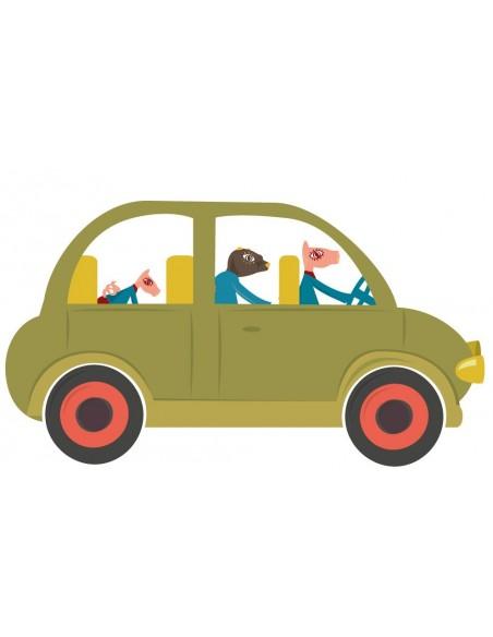 Stickers Voiture & Transports,Sticker enfant: voiture kaki