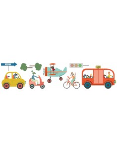 Stickers Voiture & Transports,Sticker enfant: frise transport
