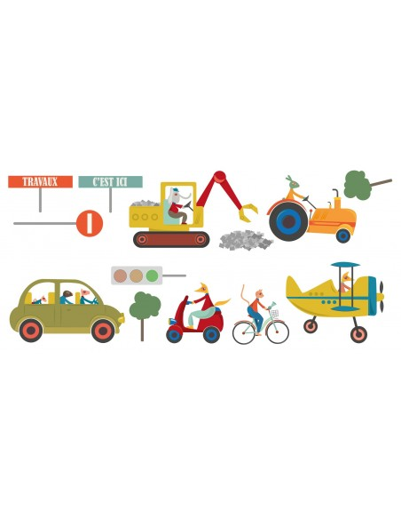 Stickers Voiture & Transports,Sticker enfant: frise travaux