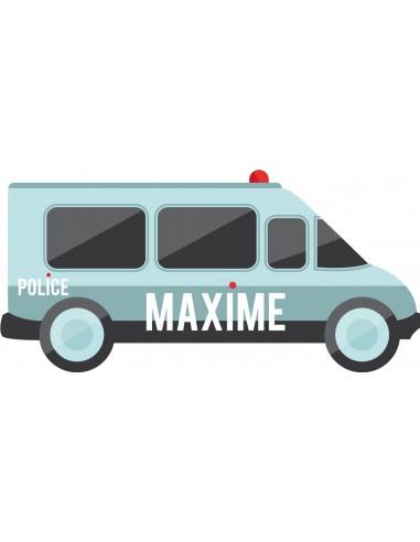 Stickers Police,Sticker Prénom: Camion Police personnalisé