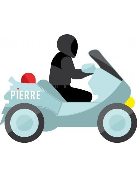 Stickers Police,Sticker Prénom: Motard Police personnalisé