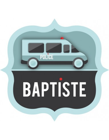 Stickers Police,Sticker Prénom: Camion écusson Police
