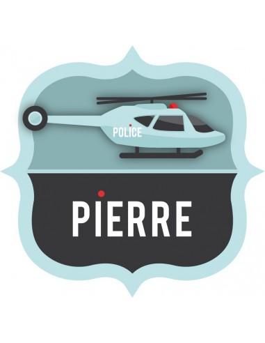 Stickers Police,Sticker Prénom: Helico écusson Police