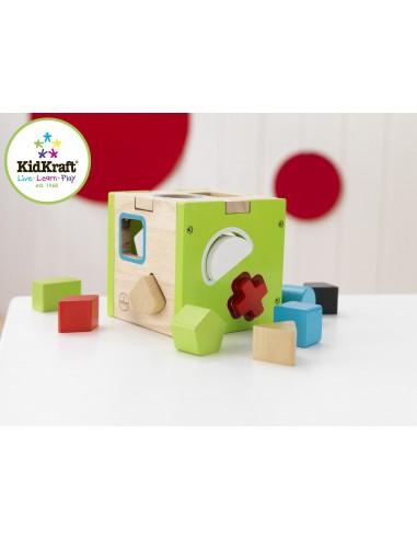 Jouet en bois,Jouet en bois: Cube avec formes