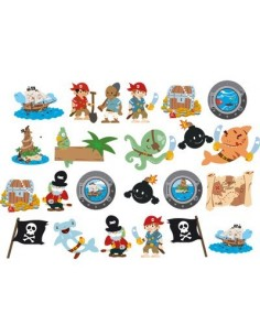 Stickers Pirates,Planche de 23 stickers Pirates