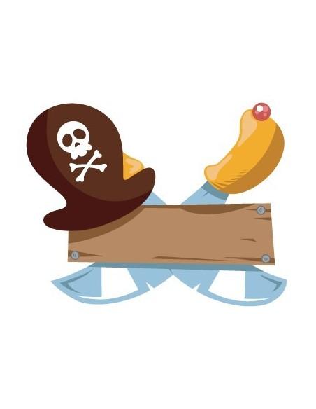 Stickers Prénom,Sticker Prénom : chapeau pirate à personnaliser
