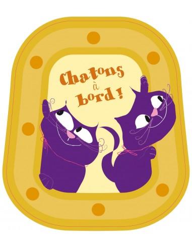 Stickers Bébé à Bord,Bébé à bord: Chatons Jaunes